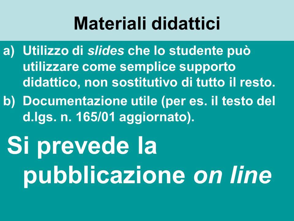 Materiali didattici Utilizzo di slides che lo studente può utilizzare come semplice supporto didattico, non sostitutivo di tutto il resto.