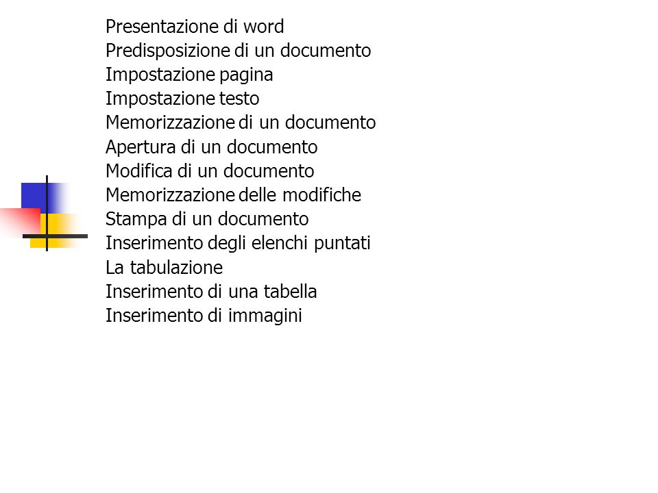 Presentazione di word Predisposizione di un documento. Impostazione pagina. Impostazione testo. Memorizzazione di un documento.