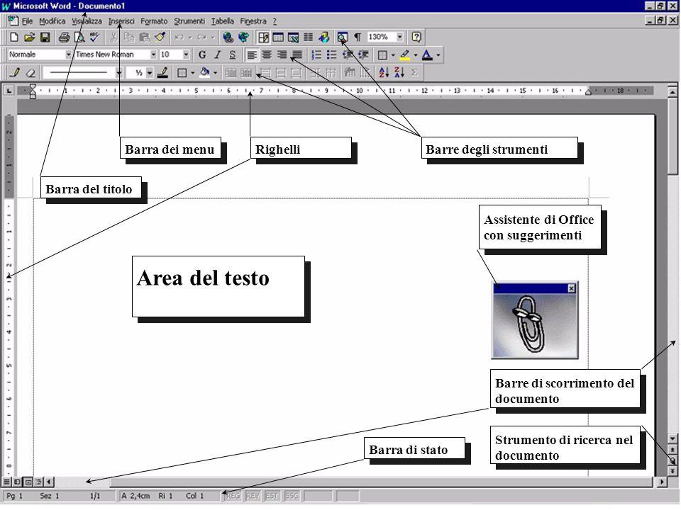 Area del testo Barra dei menu Righelli Barre degli strumenti
