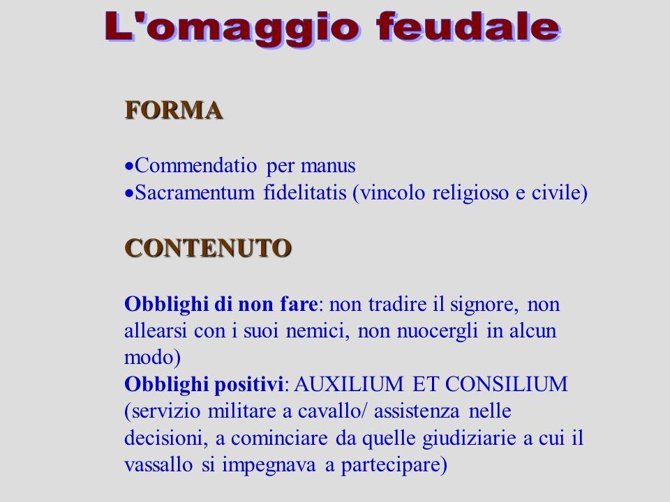 L omaggio feudale FORMA CONTENUTO Commendatio per manus