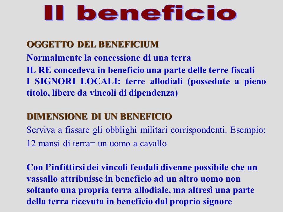 Il beneficio OGGETTO DEL BENEFICIUM