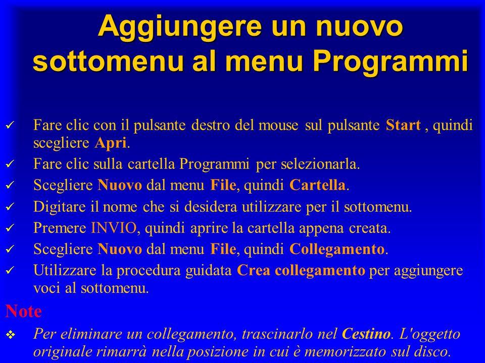 Aggiungere un nuovo sottomenu al menu Programmi