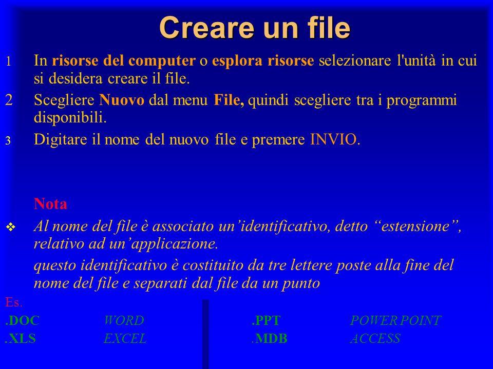 Creare un file 1 In risorse del computer o esplora risorse selezionare l unità in cui si desidera creare il file.