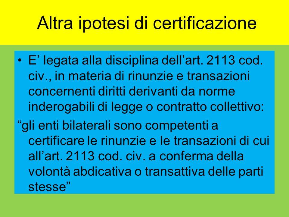 Altra ipotesi di certificazione