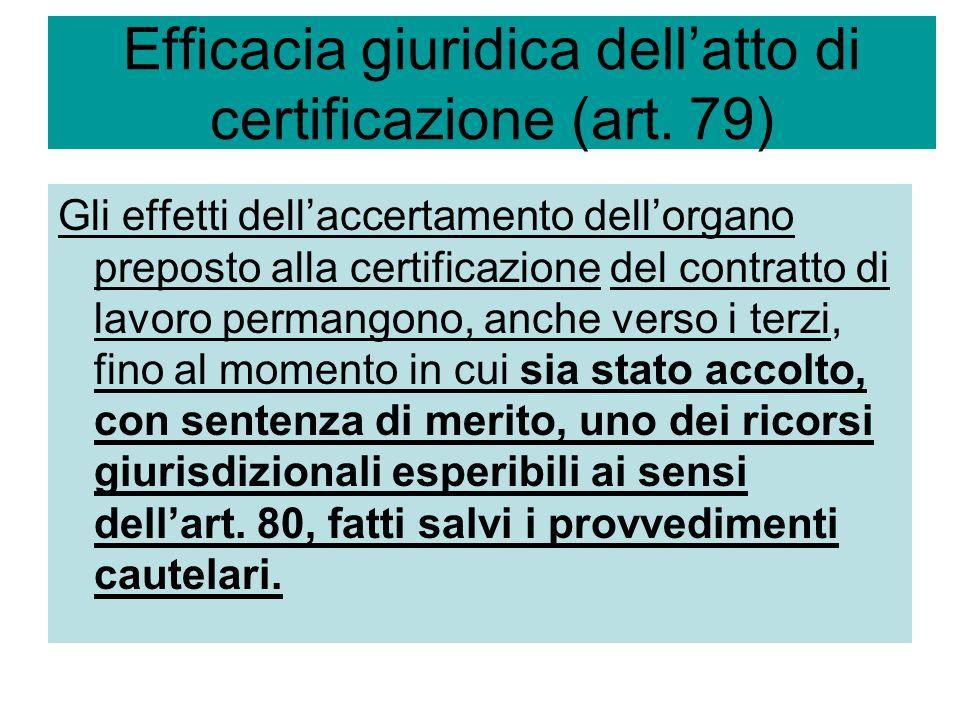 Efficacia giuridica dell'atto di certificazione (art. 79)