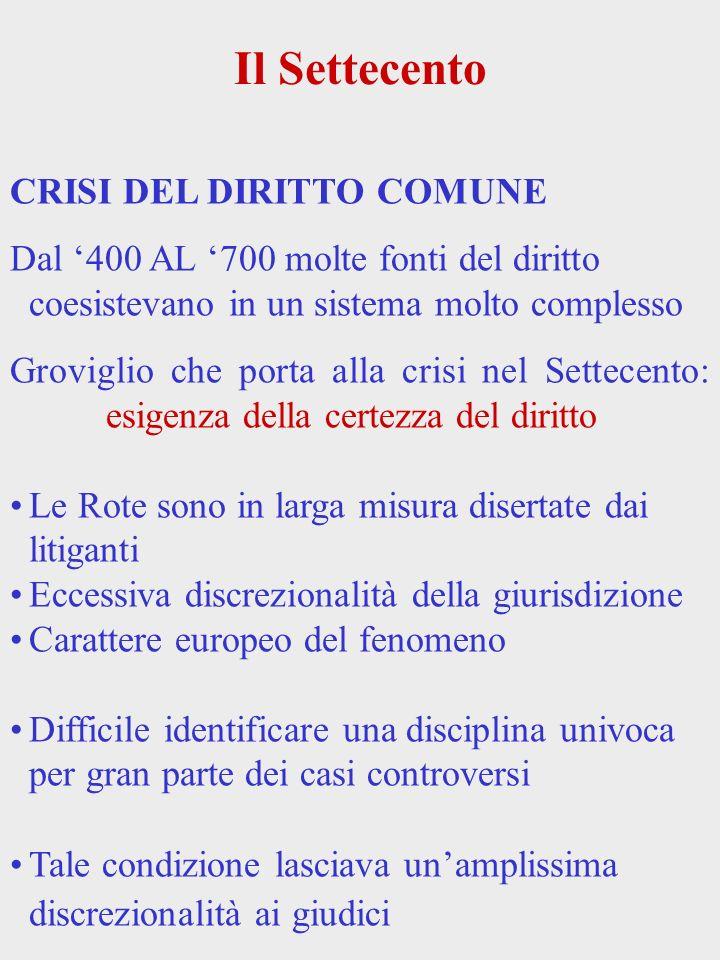 Il Settecento CRISI DEL DIRITTO COMUNE