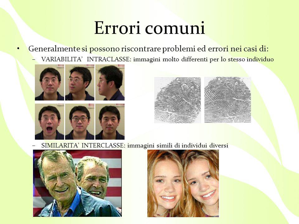 Errori comuni Generalmente si possono riscontrare problemi ed errori nei casi di: