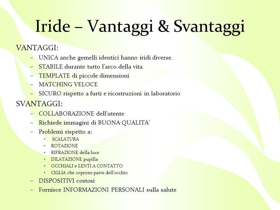 Iride – Vantaggi & Svantaggi