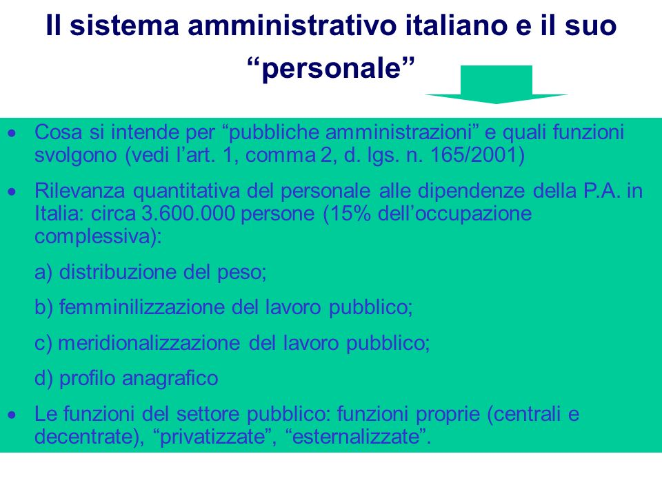 Il sistema amministrativo italiano e il suo personale