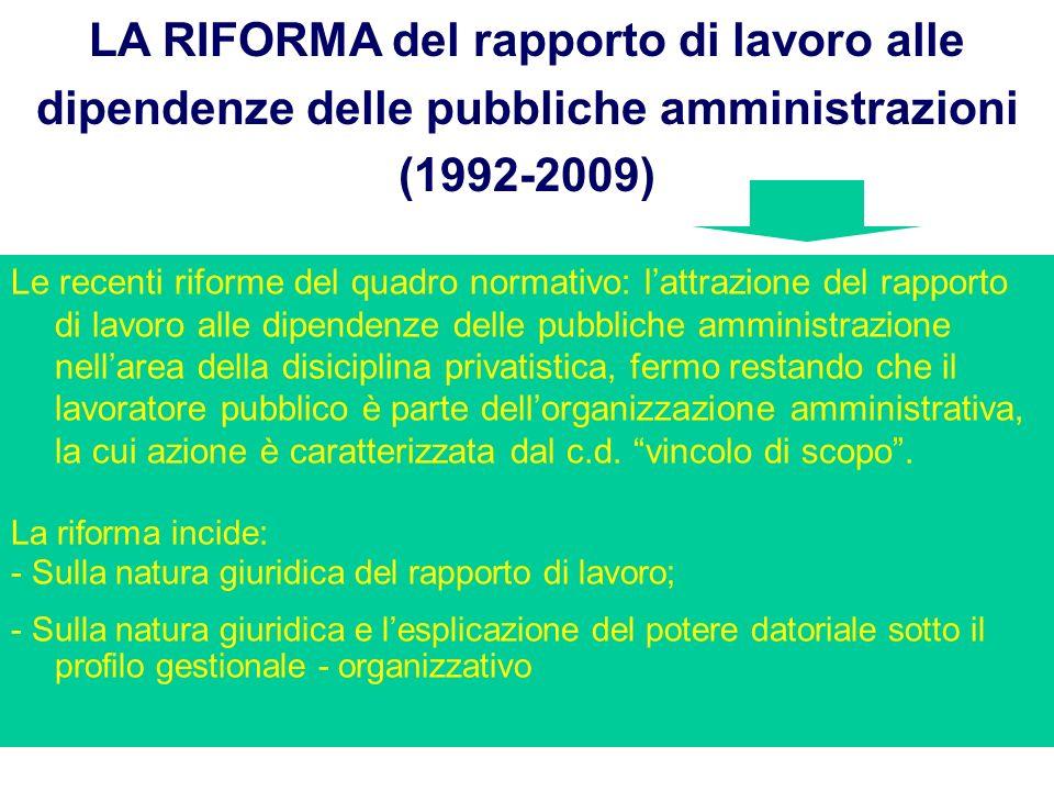 LA RIFORMA del rapporto di lavoro alle dipendenze delle pubbliche amministrazioni (1992-2009)