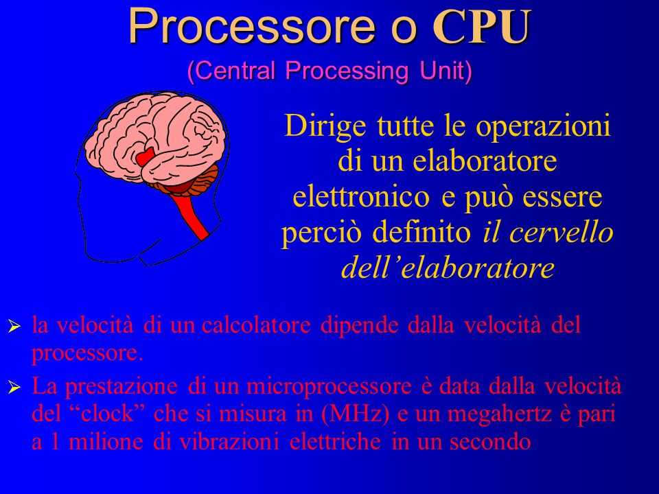 Processore o CPU (Central Processing Unit)