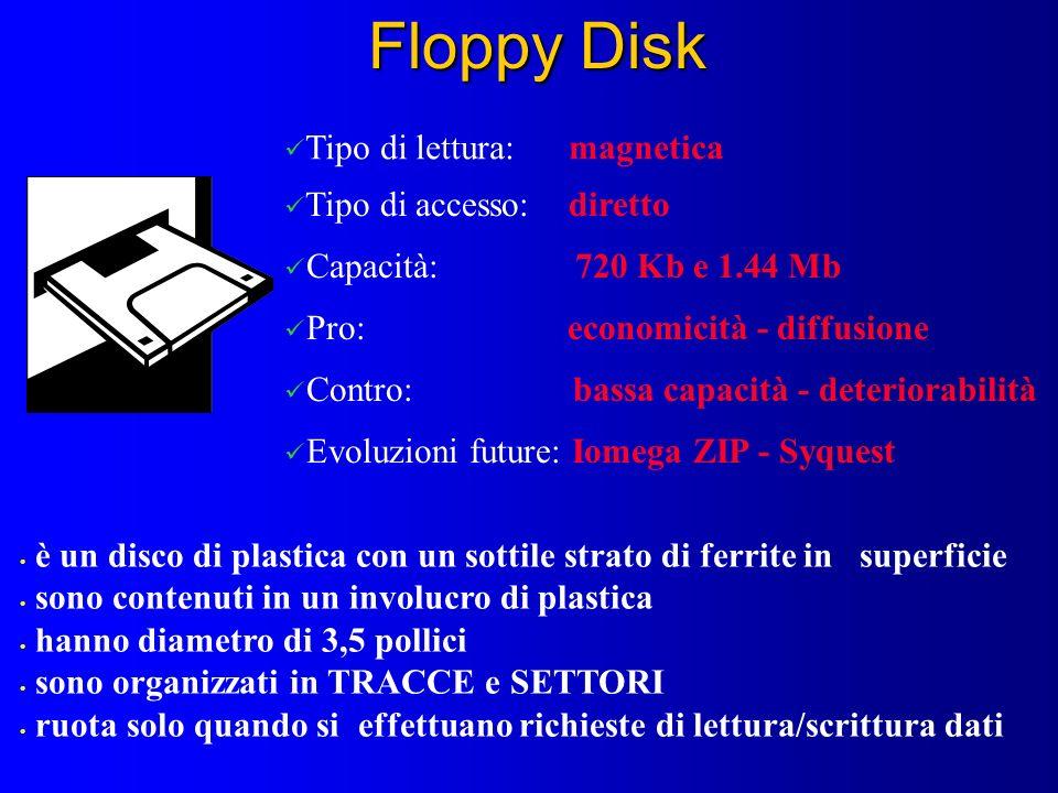 Floppy Disk Tipo di lettura: magnetica Tipo di accesso: diretto