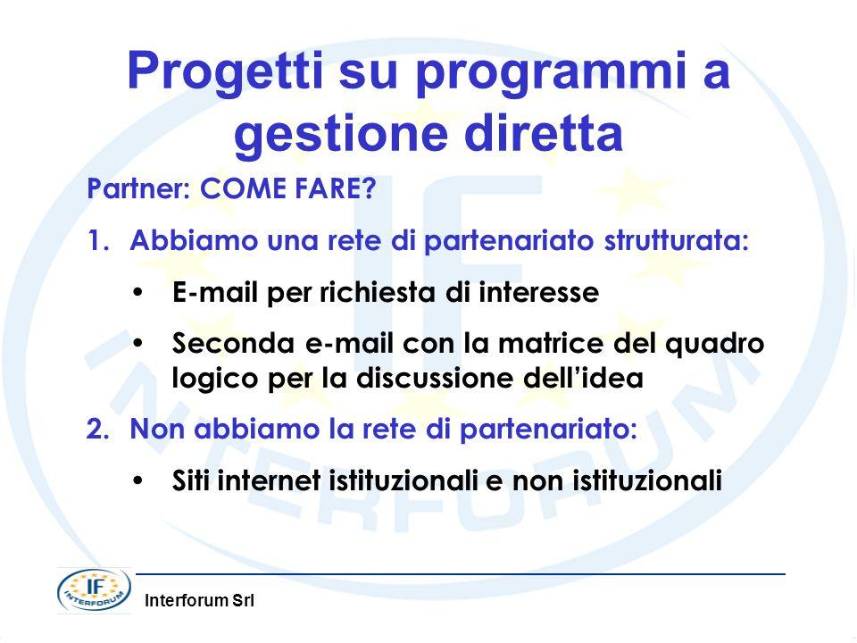 Progetti su programmi a gestione diretta