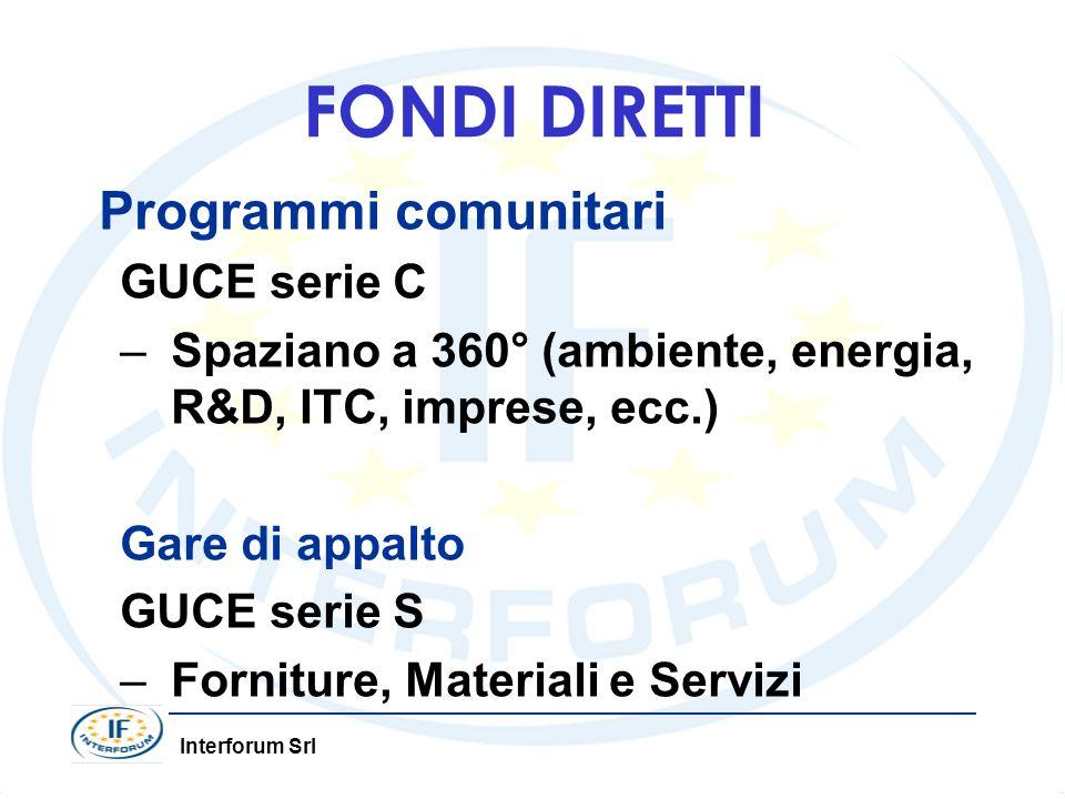 FONDI DIRETTI Programmi comunitari GUCE serie C