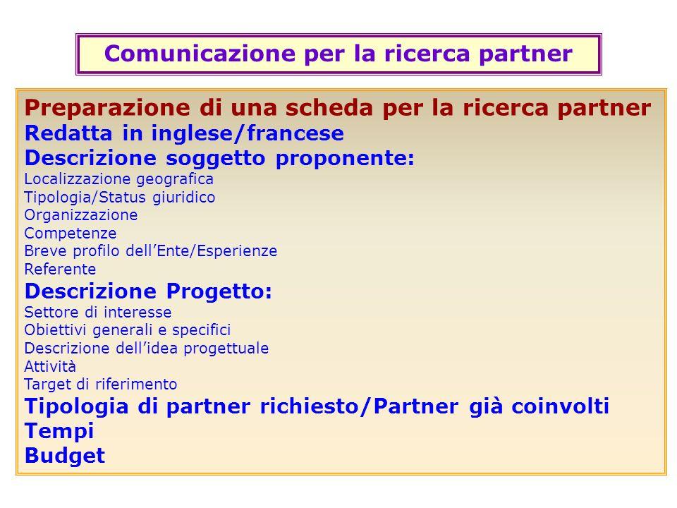 Comunicazione per la ricerca partner