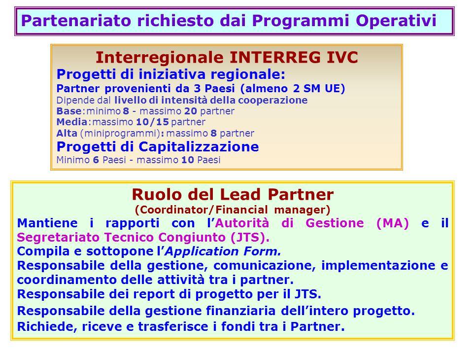 Interregionale INTERREG IVC (Coordinator/Financial manager)