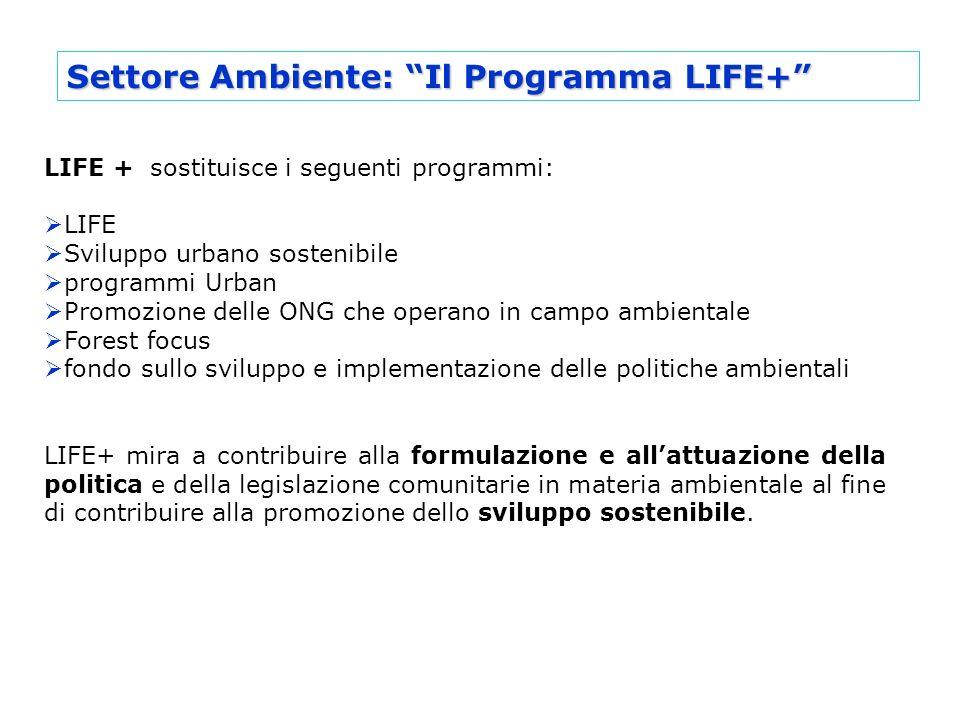 Settore Ambiente: Il Programma LIFE+