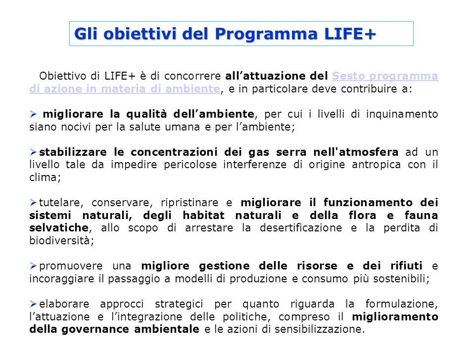 Gli obiettivi del Programma LIFE+