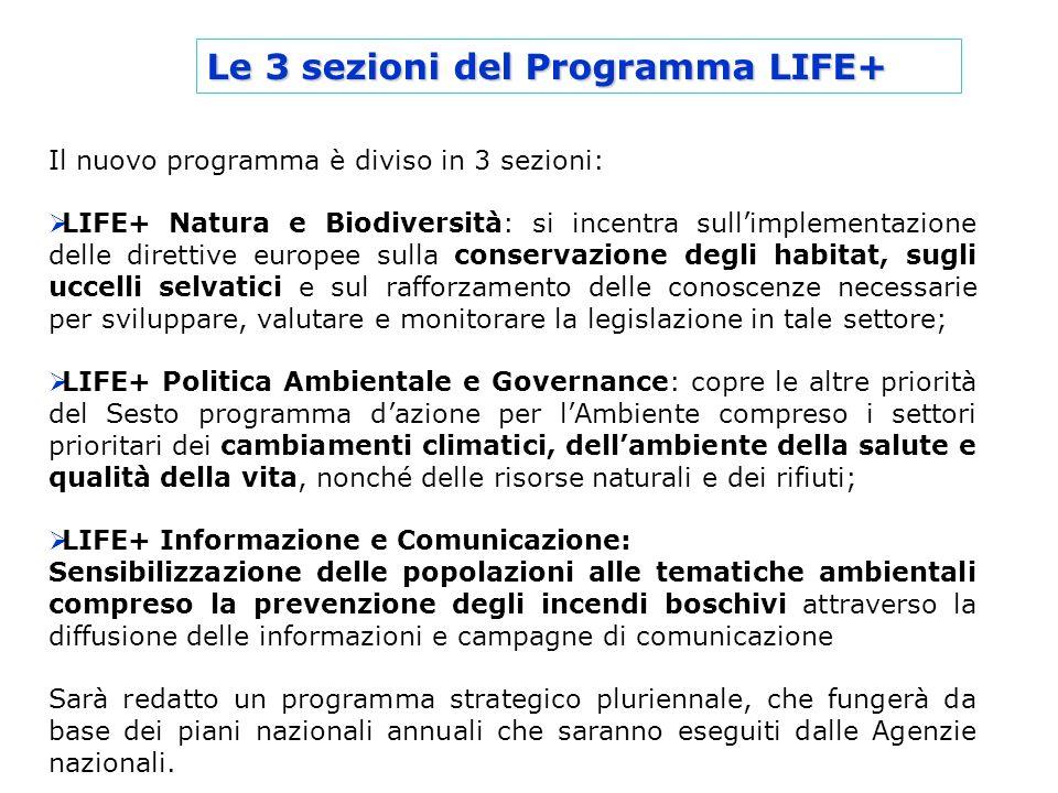 Le 3 sezioni del Programma LIFE+