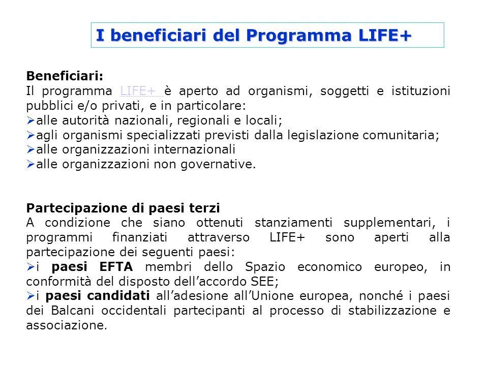 I beneficiari del Programma LIFE+