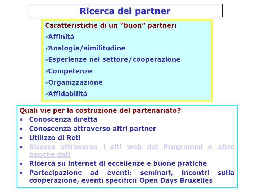 Ricerca dei partner Caratteristiche di un buon partner: Affinità