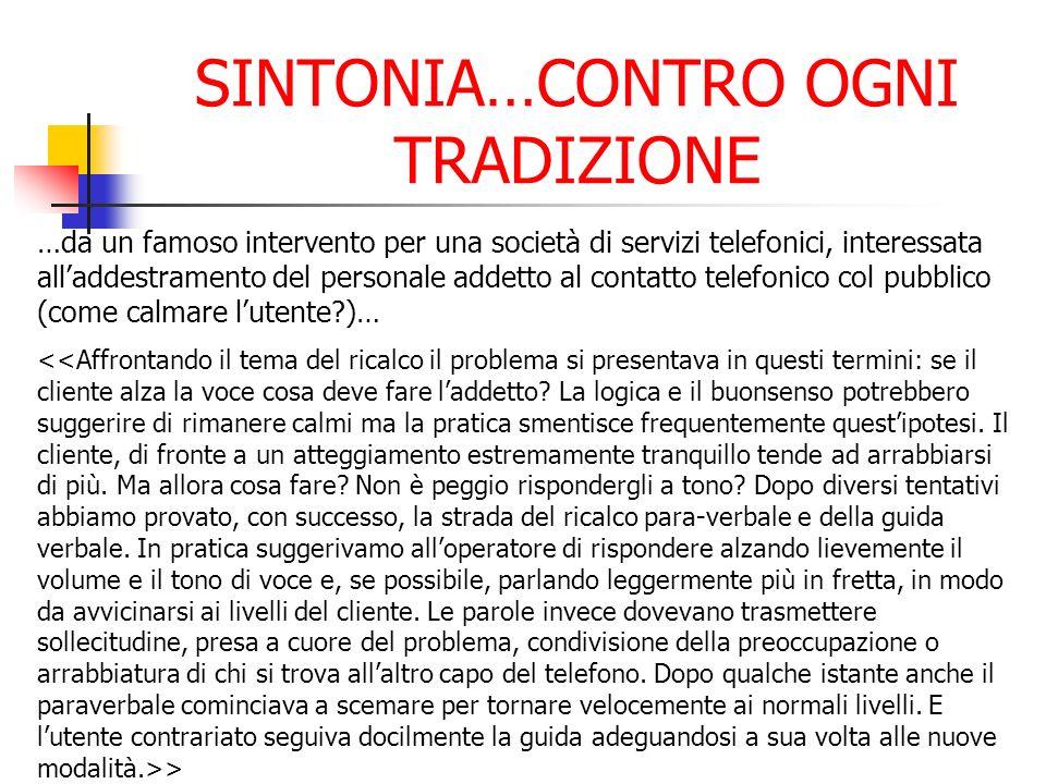 SINTONIA…CONTRO OGNI TRADIZIONE