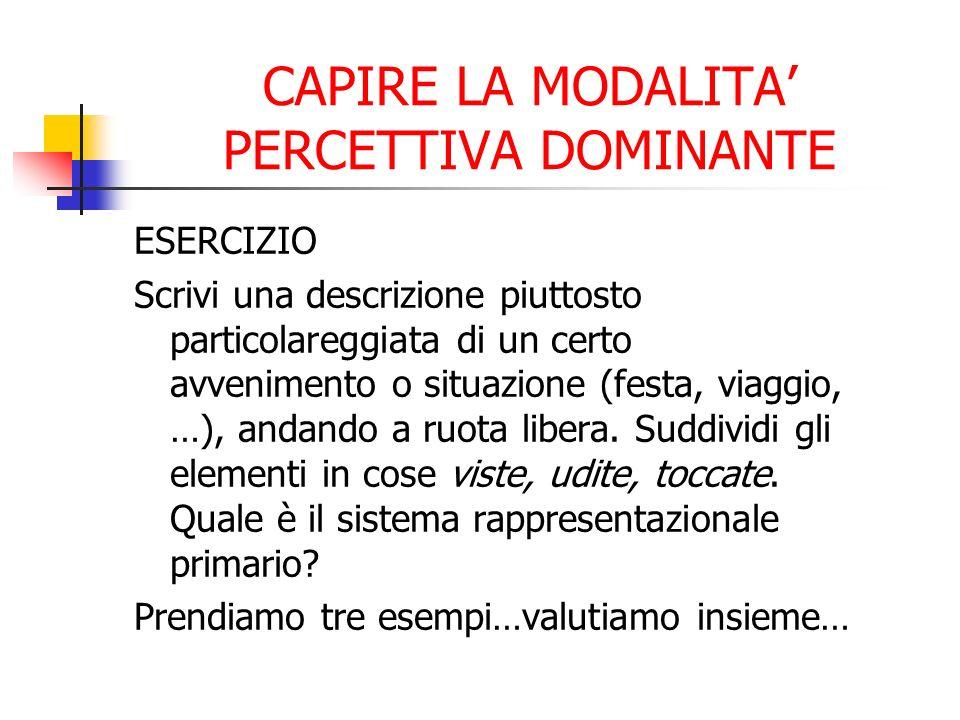 CAPIRE LA MODALITA' PERCETTIVA DOMINANTE