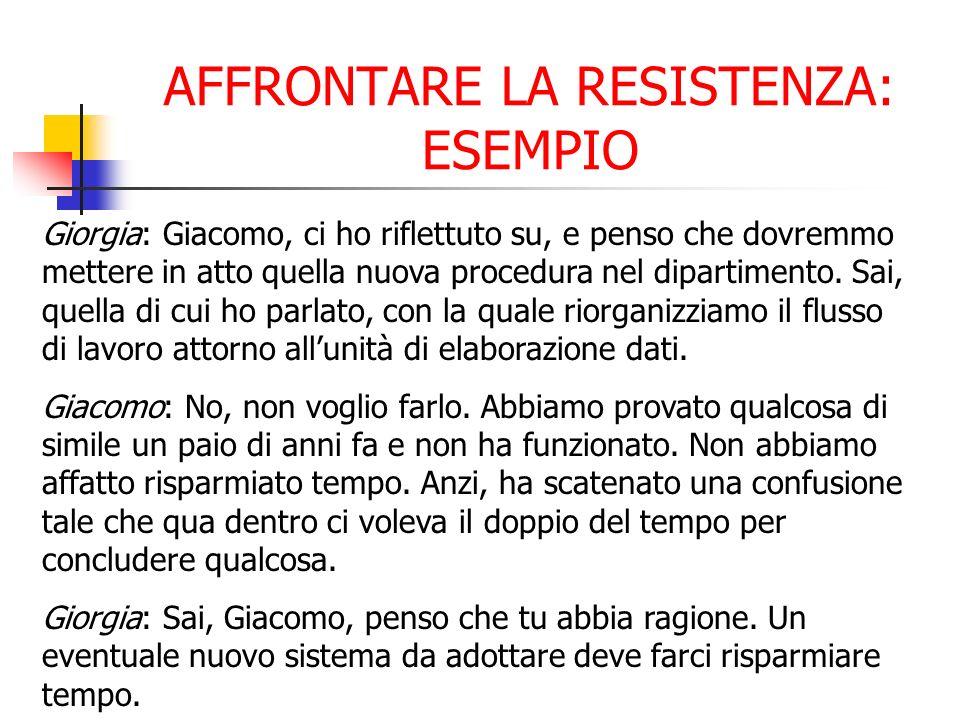 AFFRONTARE LA RESISTENZA: ESEMPIO