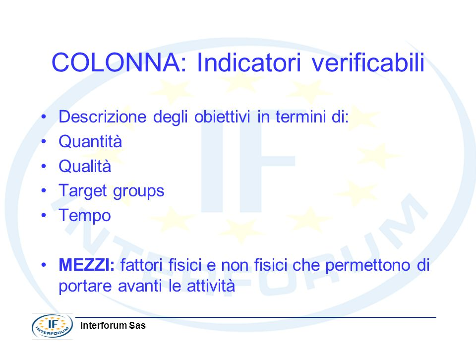 COLONNA: Indicatori verificabili