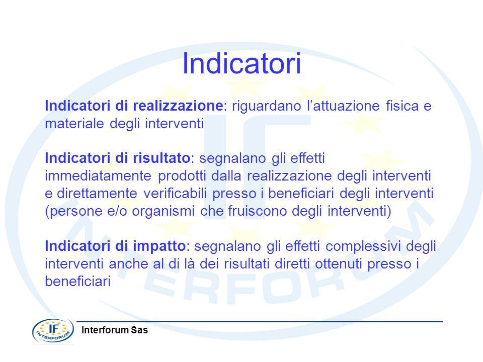 Indicatori Indicatori di realizzazione: riguardano l'attuazione fisica e materiale degli interventi.