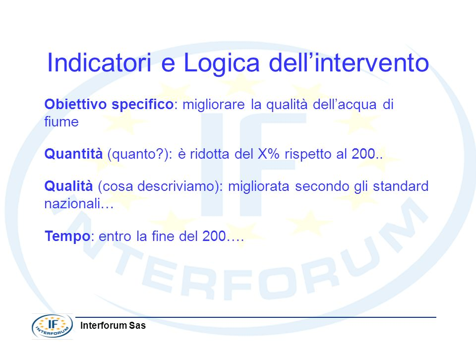 Indicatori e Logica dell'intervento