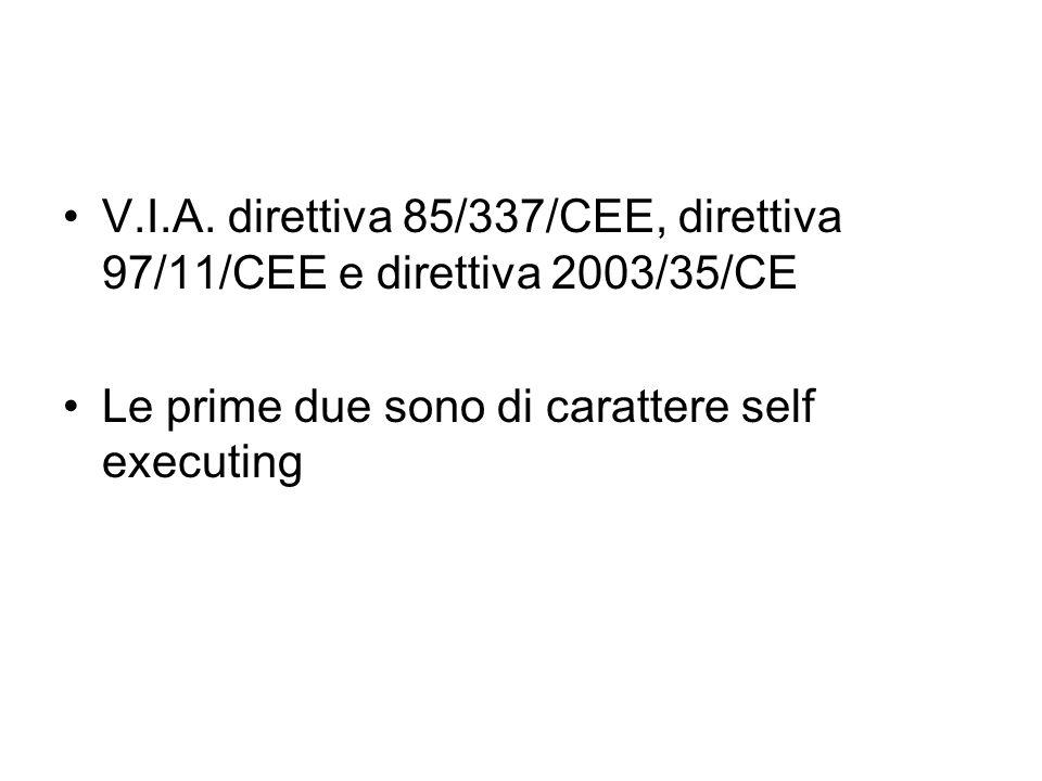 V.I.A. direttiva 85/337/CEE, direttiva 97/11/CEE e direttiva 2003/35/CE