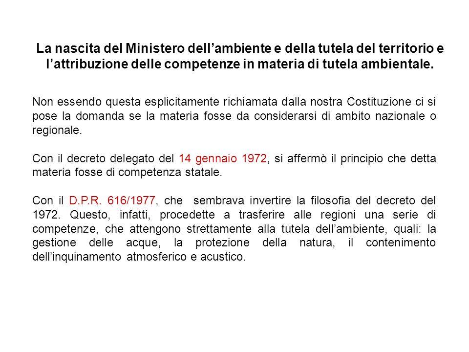 La nascita del Ministero dell'ambiente e della tutela del territorio e l'attribuzione delle competenze in materia di tutela ambientale.