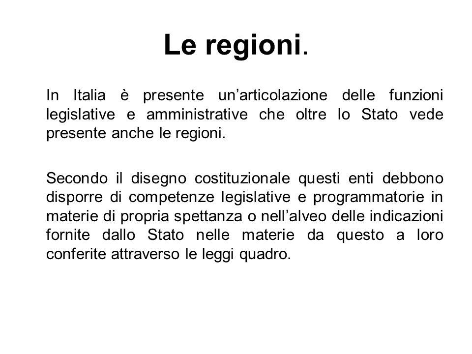 Le regioni. In Italia è presente un'articolazione delle funzioni legislative e amministrative che oltre lo Stato vede presente anche le regioni.