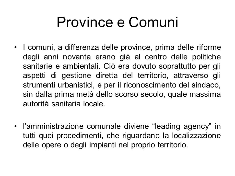 Province e Comuni