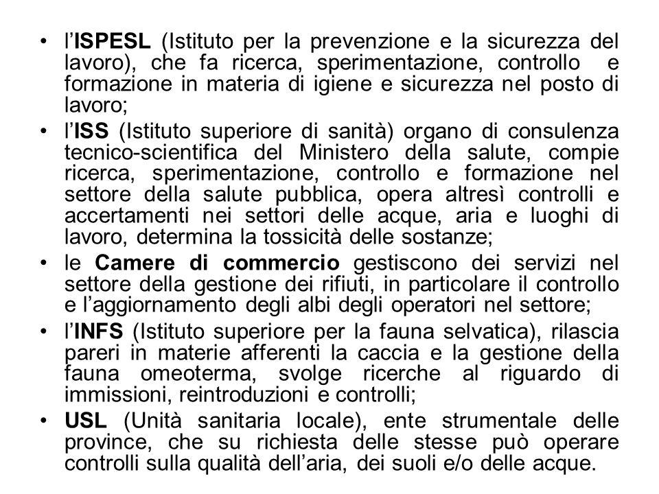 l'ISPESL (Istituto per la prevenzione e la sicurezza del lavoro), che fa ricerca, sperimentazione, controllo e formazione in materia di igiene e sicurezza nel posto di lavoro;