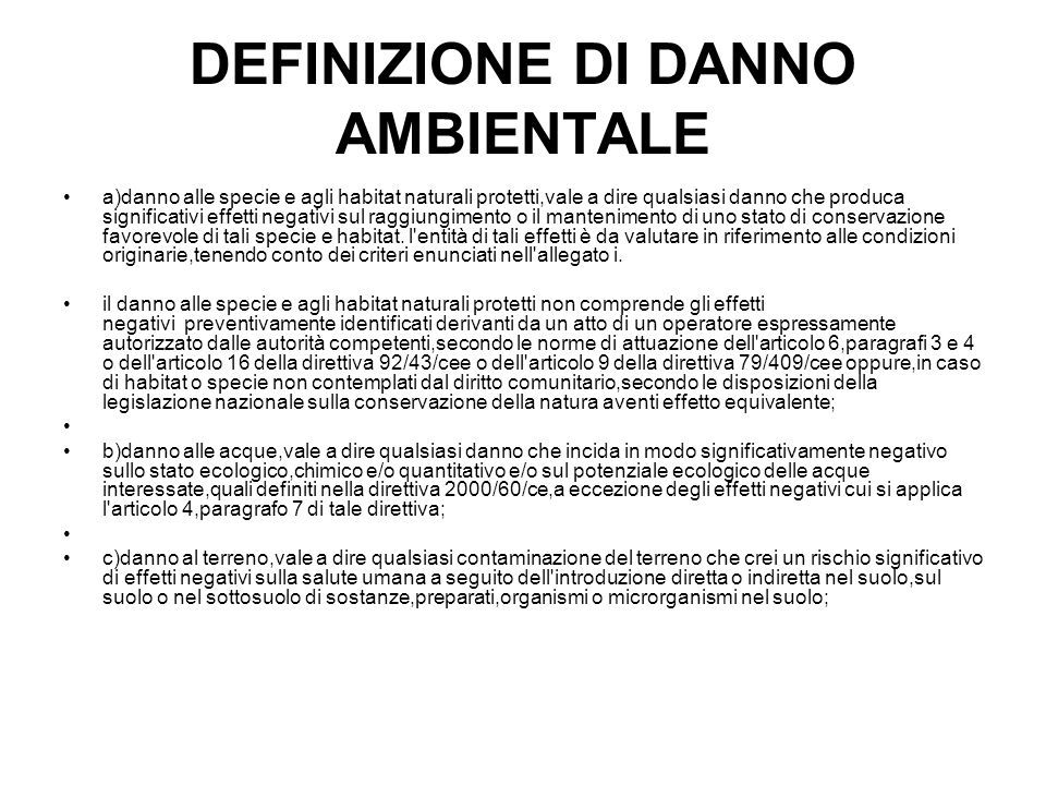 DEFINIZIONE DI DANNO AMBIENTALE