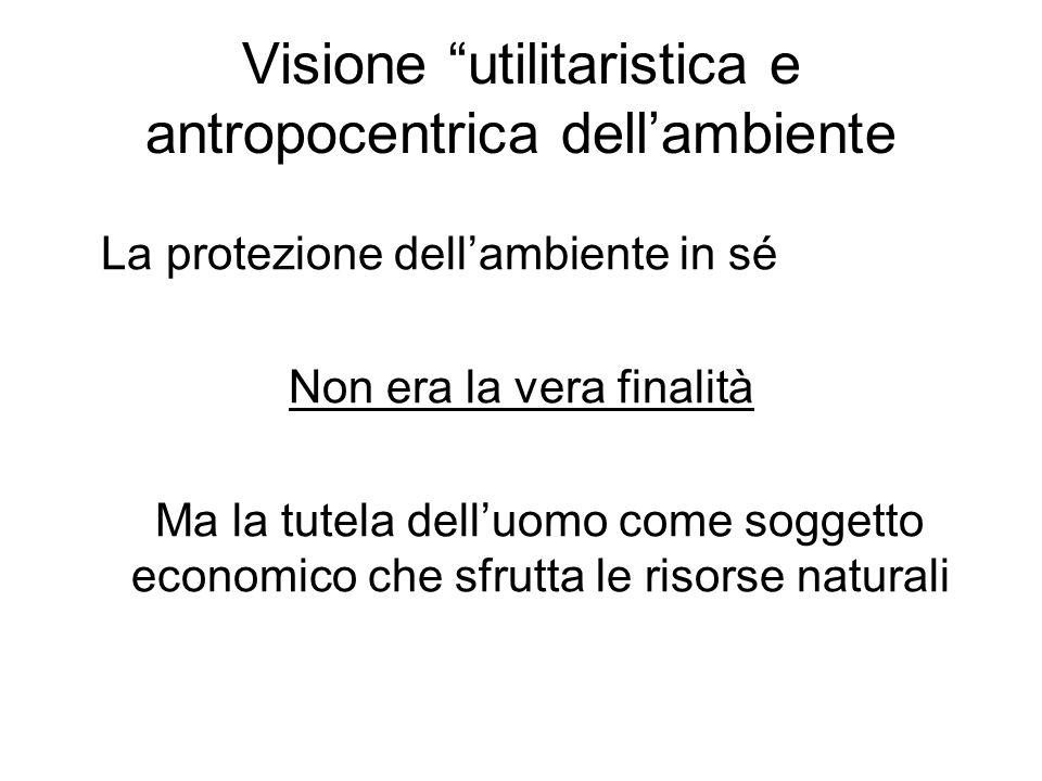 Visione utilitaristica e antropocentrica dell'ambiente
