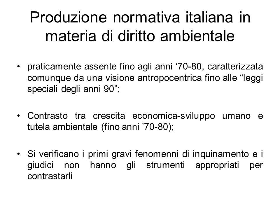 Produzione normativa italiana in materia di diritto ambientale