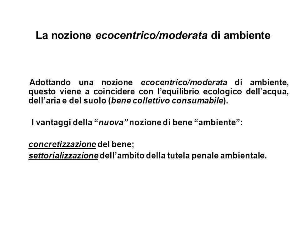 La nozione ecocentrico/moderata di ambiente
