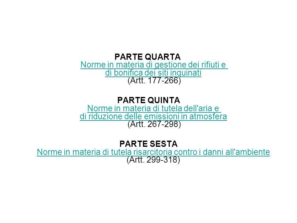 PARTE QUARTA Norme in materia di gestione dei rifiuti e di bonifica dei siti inquinati (Artt. 177-266)