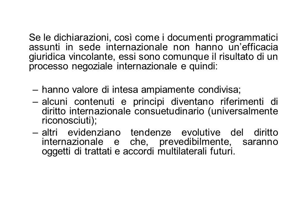 Se le dichiarazioni, così come i documenti programmatici assunti in sede internazionale non hanno un'efficacia giuridica vincolante, essi sono comunque il risultato di un processo negoziale internazionale e quindi: