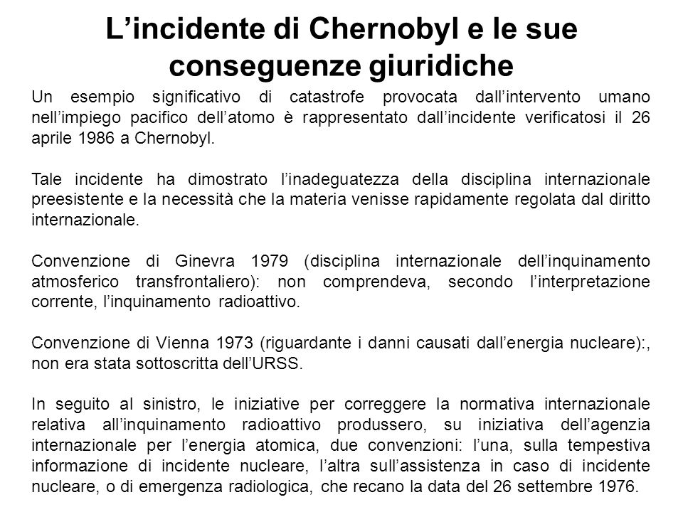L'incidente di Chernobyl e le sue conseguenze giuridiche