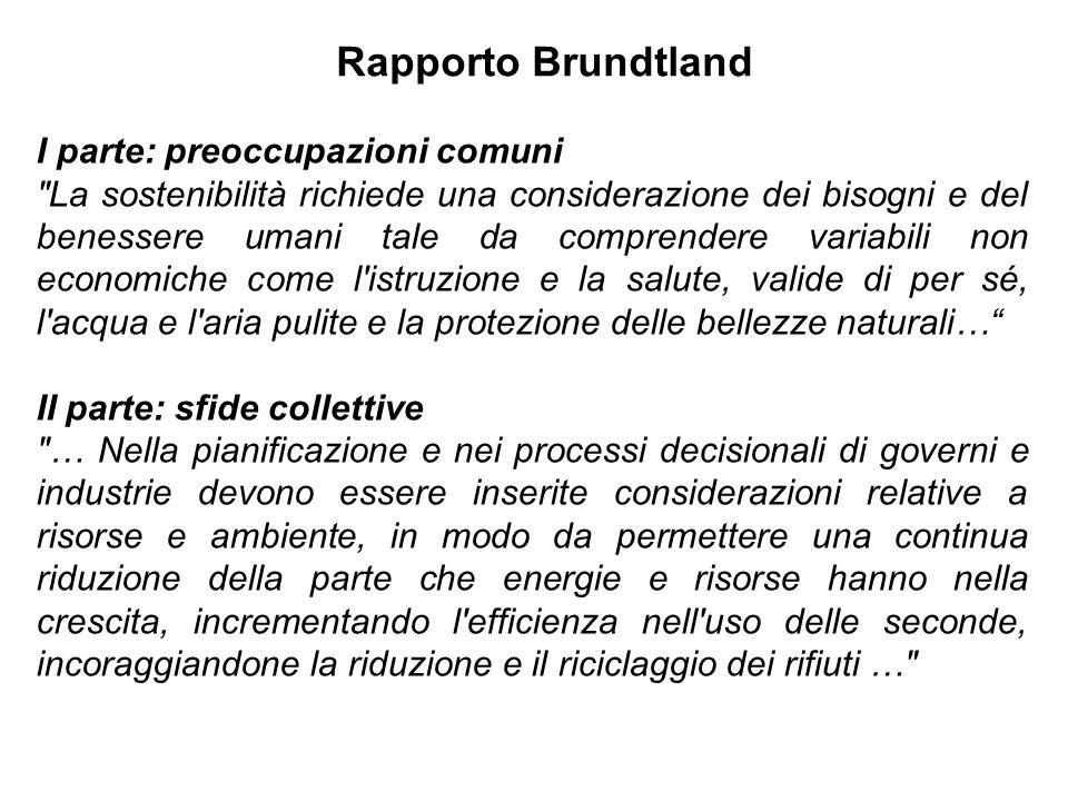 Rapporto Brundtland I parte: preoccupazioni comuni