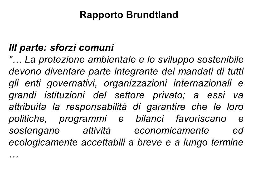 Rapporto Brundtland III parte: sforzi comuni.