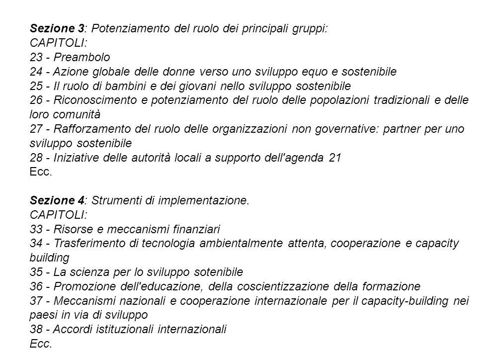 Sezione 3: Potenziamento del ruolo dei principali gruppi: