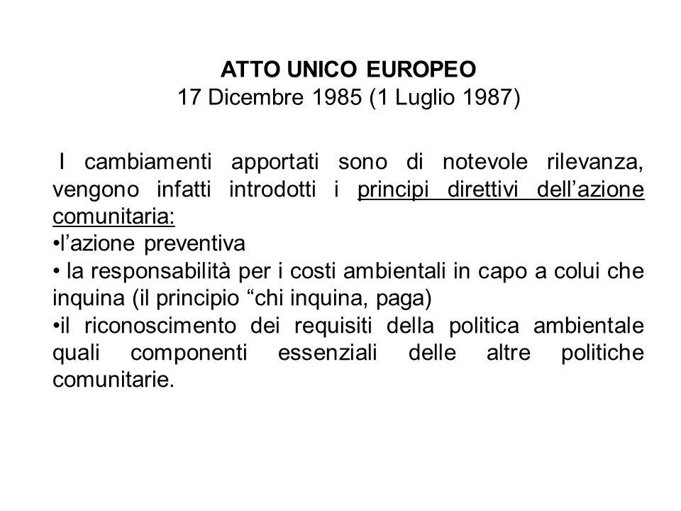 ATTO UNICO EUROPEO 17 Dicembre 1985 (1 Luglio 1987)