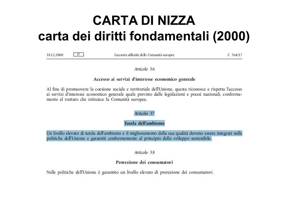 CARTA DI NIZZA carta dei diritti fondamentali (2000)