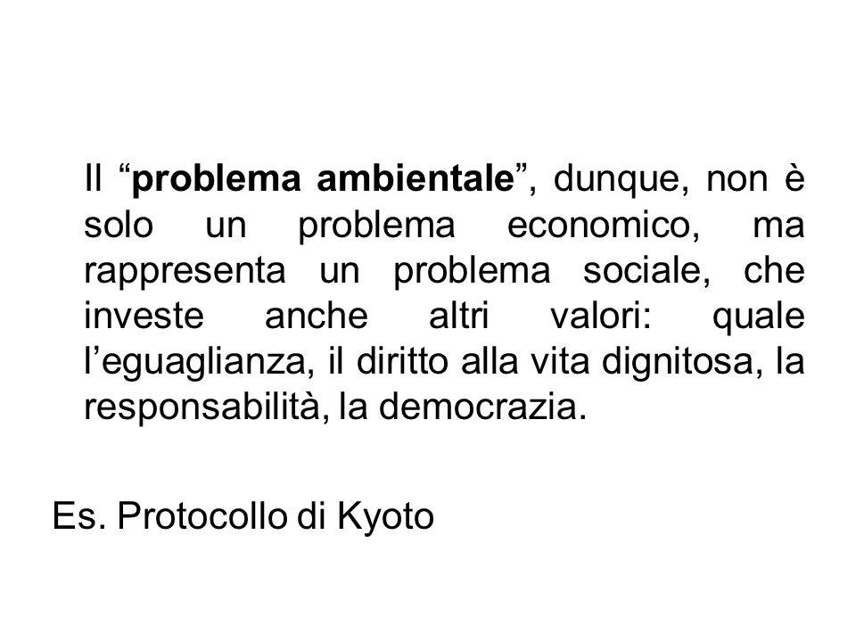 Il problema ambientale , dunque, non è solo un problema economico, ma rappresenta un problema sociale, che investe anche altri valori: quale l'eguaglianza, il diritto alla vita dignitosa, la responsabilità, la democrazia.