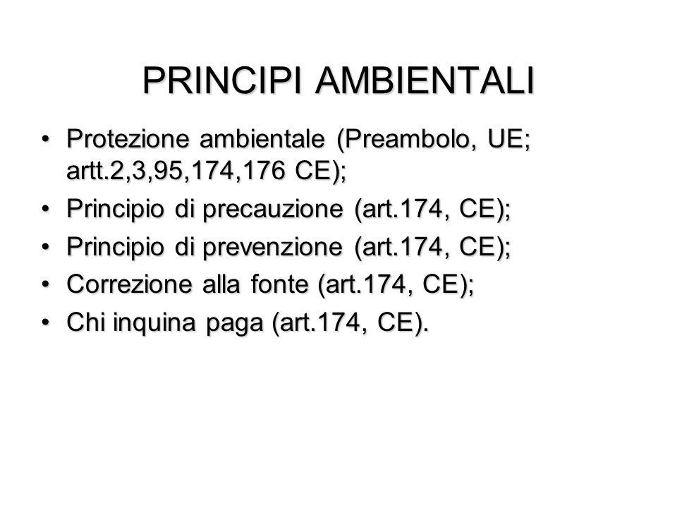 PRINCIPI AMBIENTALI Protezione ambientale (Preambolo, UE; artt.2,3,95,174,176 CE); Principio di precauzione (art.174, CE);